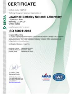 Berkeley Lab's Energy Management Certified to ISO 50001